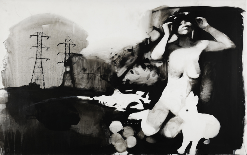 """Shay Bredimus, """"Dark Room Composition 3"""", 2016-18, tattoo ink and wax crayon on drafting film, 46"""" x 70"""" image size"""