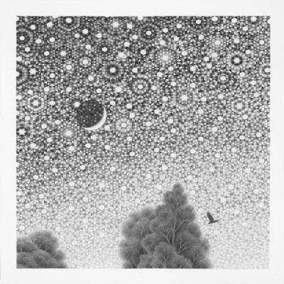 "Eric Beltz, ""Dawn Sky Crescent Moon"", 2017, Bristol on paper, 13"" x 13"""