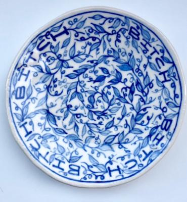 "Elyse Pignolet, ""Bitch"", 2018, ceramic plate with glazes, 8.5"" diameter"