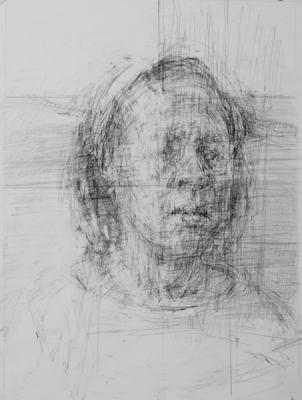 "Ann Gale, ""Gloria Looking Away"", 2017, graphite on paper, 17"" x 11"" im."