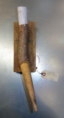 """Fred Birchman, """"The Wooden Home Bone"""", 2016, wood and found object, 13"""" x 6"""" x 4"""""""