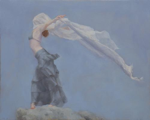 """Judy Nimtz, """"Into the Wind's Embrace"""", 2018, Oil on Panel, 8"""" x 10"""""""