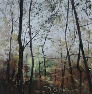 "Kimberly Clark,  Paris Mountain, Fall (study) 2018, Oil on Panel, 4.25"" x 4.25"""