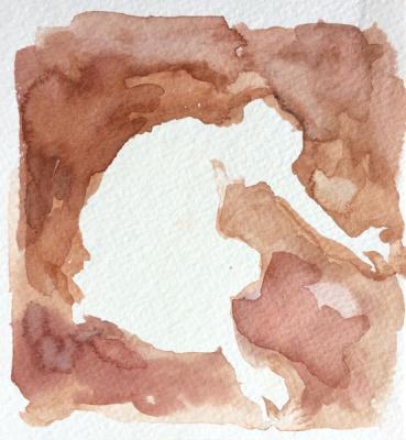 """Anne Petty, """"Finding Ground"""", 2012, Watercolor on Paper"""", 5"""" x 4.5"""""""