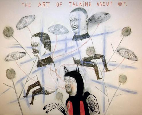 """Fred Stonehouse, """"Talking About Art"""", 2017, acrylic, graphite, crayon on vellum, 18"""" x 24"""""""