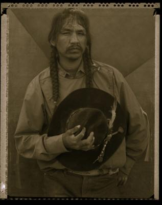 """""""Wes, White Swan, (Rodeo triptych)"""", triptych completed 1986, sepia-toned silver gelatin print, 20 x 16"""" paper size"""