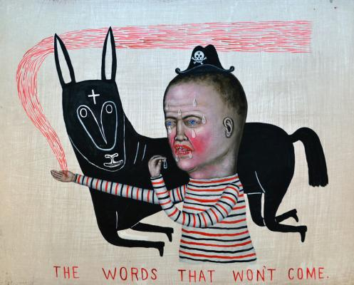 """Fred Stonehouse, """"The Words That Won't Come"""", 2017, acrylic on wood, 16"""" x 20"""""""