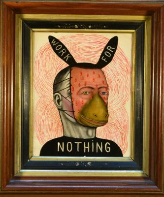 """Fred Stonehouse, """"Work for Nothing"""", 2017, acrylic on panel with antique frame, 15"""" x 12"""""""